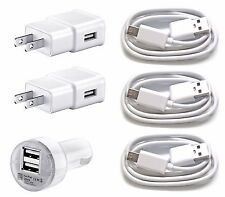3x MICRO USB + 2x Wall Charger + 1x dual car for Samsung Galaxy and androids