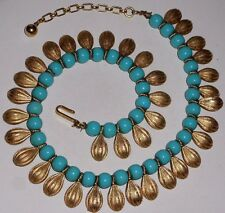 Vintage Crown Trifari Gold Turquoise Necklace Egyptian Revival Choker