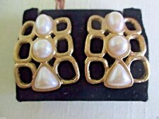"AVON VINTAGE*PEARLY PETAL CLIP EARRINGS*NIB*1992*1 1/2""L X 1 1/4""W GOLD-TONE*"