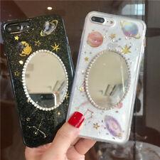 Lindo Espejo De Diamantes Bling Giltter Planeta Estuche Cubierta para Samsung Galaxy Note 9 S8