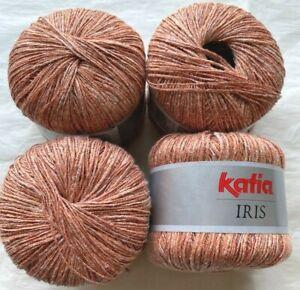 "Katia ""Iris"" 158 Yards Per Ball Linen Peach Bliss Shimmer Yarn Made in Spain"