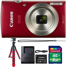 Canon IXUS 185 / ELPH 180 Digital Camera Red w/ 8GB Memory Card and Tripod