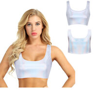 Women's Rave Festival Holographic Crop Tank Top Dance Night Club Party Vest Tops