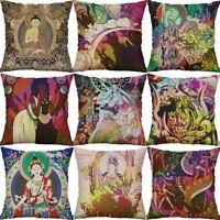 """18"""" Buddha Dragon Print Cotton Linen pillow case Cushion Cover Home Decor"""