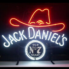 "19""x15""Jack Daniel's Neon Sign Light Tiki Bar Pub Wall Hanging Real Glass Tube"
