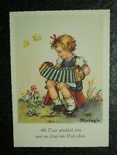 Alte AK , Mädchen mit Ziehharmonika , Alle Tage glücklich.. , Maria Pia,  (C510)
