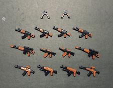 14 Custom LEGO WW2 AK Assault Rifle Military Army Toy Guns Lot with Gun Holders
