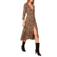 REFORMATION Leopard Animal Print ALMA Front Button Crepe V-Neck Midi Dress 12