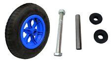 """BLUE SPOKED wheelbarrow / Trolley Wheel Pneumatic 14"""" Tyre 3.50 - 8 + AXLE"""