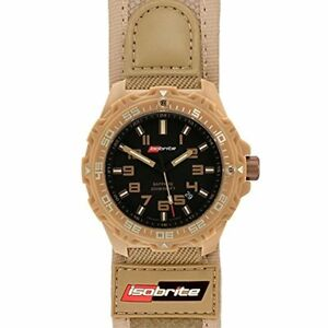 Isobrite ISO314 Valor Series Tan/Black T100 Watch Nylon Hook and Loop  Band