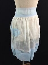 vintage half apron blue white sheer 21 x 25 organdy
