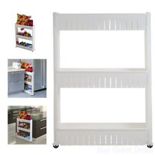 White Slim Slide Out Pantry On Rollers For Kitchen Laundry Room Bathroom