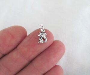 Small Sterling Silver Squirrel mini tiny charm