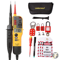 Fluke T130 Voltage and Continuity Tester + Leaderman MCB Lock Out/Off Kit LOS-K1