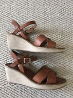 A.P.C Leather And Suede Wedge Strappy Sandals High Heels Shoes Size 40 Eur