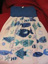 OCEAN FISH~SHELLS~STARFISH~SAND DOLLAR 1 WHOLE~SHELL button top HANGING TOWEL