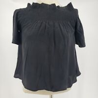7 For All Mankind NWT Womens Black 100% Silk Crop Top Size Small