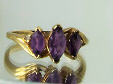 Vintage 10K Yellow Gold 3 Amethyst Stones w Diamonds accent Ring  2.6g size 6.5