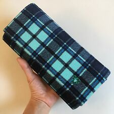 HTF New Korean Blue Black Plaid Check Clutch Bag Green Swarovski Crystal Heart