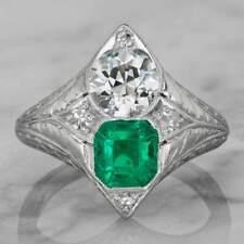 1.05 Carat Asscher Cut Emerald Engagement Ring Pure 925 Sterling Silver