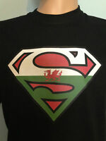 SUPERMAN, WALES dragon logo funny parody T Shirt St David Rugby