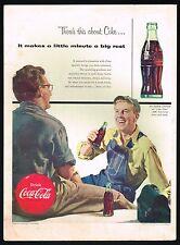 1950s BIG Original Vintage Coca-Cola Work Men Drinking Coke Art Print Ad
