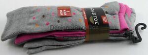 $20 GOLDTOE 3018S Heather Grey Multi 4 PAIR Socks Shoe Size 6-12 1 / 2