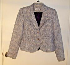 Calvin Klein Size 8P Textured Blazer Blue White Variegated Lined
