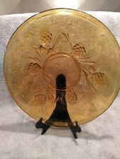 """Vintage Jobling Amber Glass Firecone Pattern Plate 10"""" reg No 777133"""