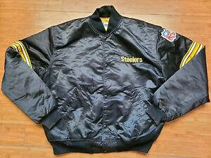 Vintage Mens Starter Pittsburgh Steelers Satin Jacket Size XL-Black