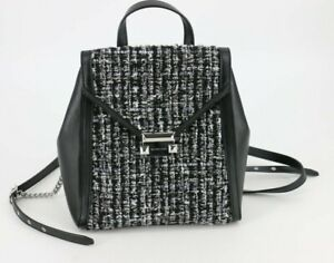 Michael Kors Whitney Tweed Leather Medium Backpack Bag Black Silver