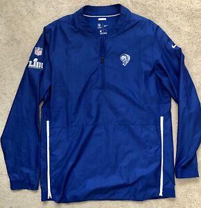 NFL Los Angeles Rams Nike Dri-Fit 1/4 Zip Jacket Team Issued Onfield Apparel LG