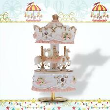 "Laxury Windup 3-horse Carousel Music Box Gift Melody ""Castle in the "" R4F1"