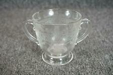 """Glass Footed Cup 3.5"""" With Two Handles And Etched Design"""