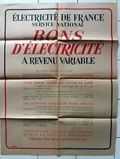 Affiche ancienne EDF - achat de bons d'électricité
