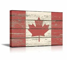 """Canvas Prints - Flag of Canada on Vintage Wood Board Background - 12"""" x 18"""""""