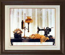 Country Sewing & Old Lamp Still Life Fine Wall Decor Art Print Framed Picture