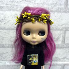 "12"" Blythe Hujoo Berry Yomi 1/3 Bjd SD Dollfie Mini Headdress Flower Ring Yellow"