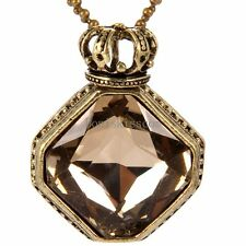 Dull Bronze Tone Alloy Crown Princess Crystal Pendant Necklace w Bead Chain