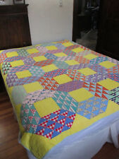 ANTIQUE FLYING GEESE WITH YELLOW QUILT #2D  69 X 84 inches