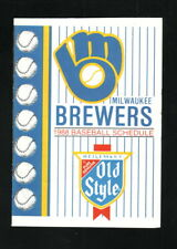 Milwaukee Brewers--1988 Pocket Schedule--Old Style