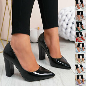 WOMENS LADIES BLOCK HIGH HEEL POINTED TOE ELEGANT PUMPS PARTY WOMEN SHOES SIZE