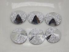 200 Silver Flatback Acrylic Glitter Bows Rivoli Round Cabochons 12mm