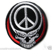 Stealie Skull and Peace sign Biker Embroidered Patch 3 inches