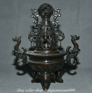 """9.6"""" Old Chinese Copper Dynasty Palace Dragon Ear Ball Incense burner Censer"""