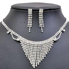 Shiny Diamante White Bridal Evening Jewellery Set Drop Earrings Necklace S427