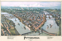 Map of Pittsburgh,1902 by Fowler; Antique Birdseye Map; Custom Printed to Order