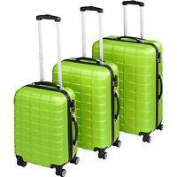 Set 3 Maletas ABS Juego de Maletas de Viaje Trolley Rígidas Verde con Candado