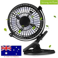 7'' Clip On Fan 2 Speed Strong Airflow USB Hydroponics Office Student Desk Tent