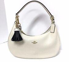 COACH Harley Hobo East West Leather Handbag Shoulder with Bag Charm 38250 Chalk